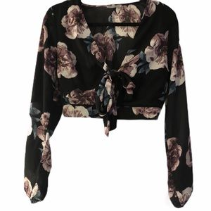 Charlotte Russe  Floral Cut Out / Tie Crop Top